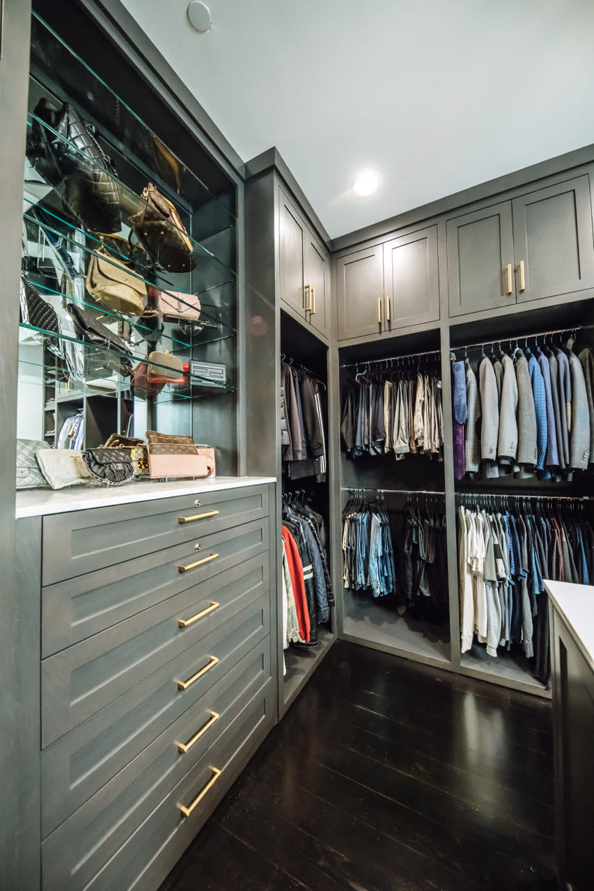 custom designed closet with built in dresser
