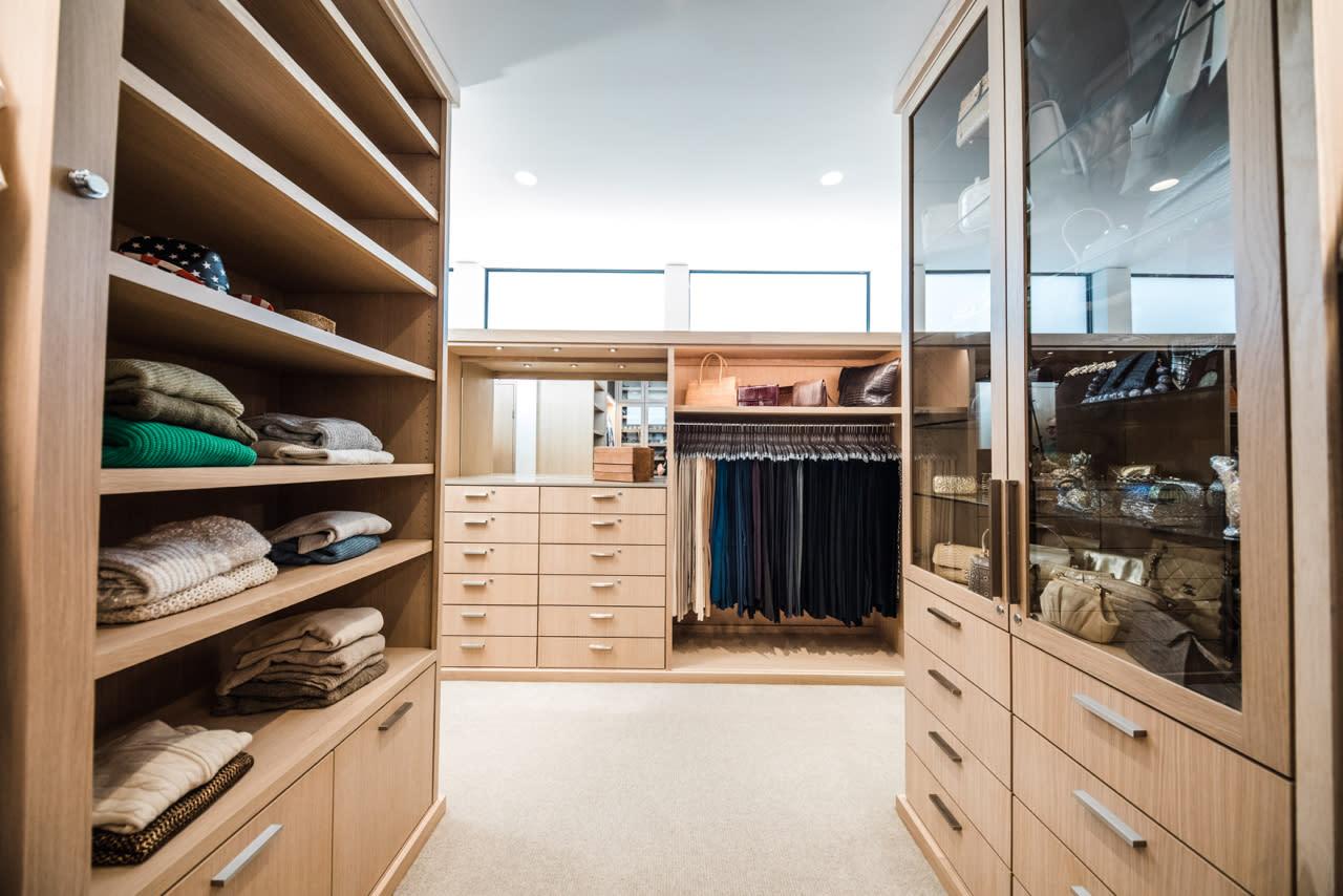 contemporary white oak closet