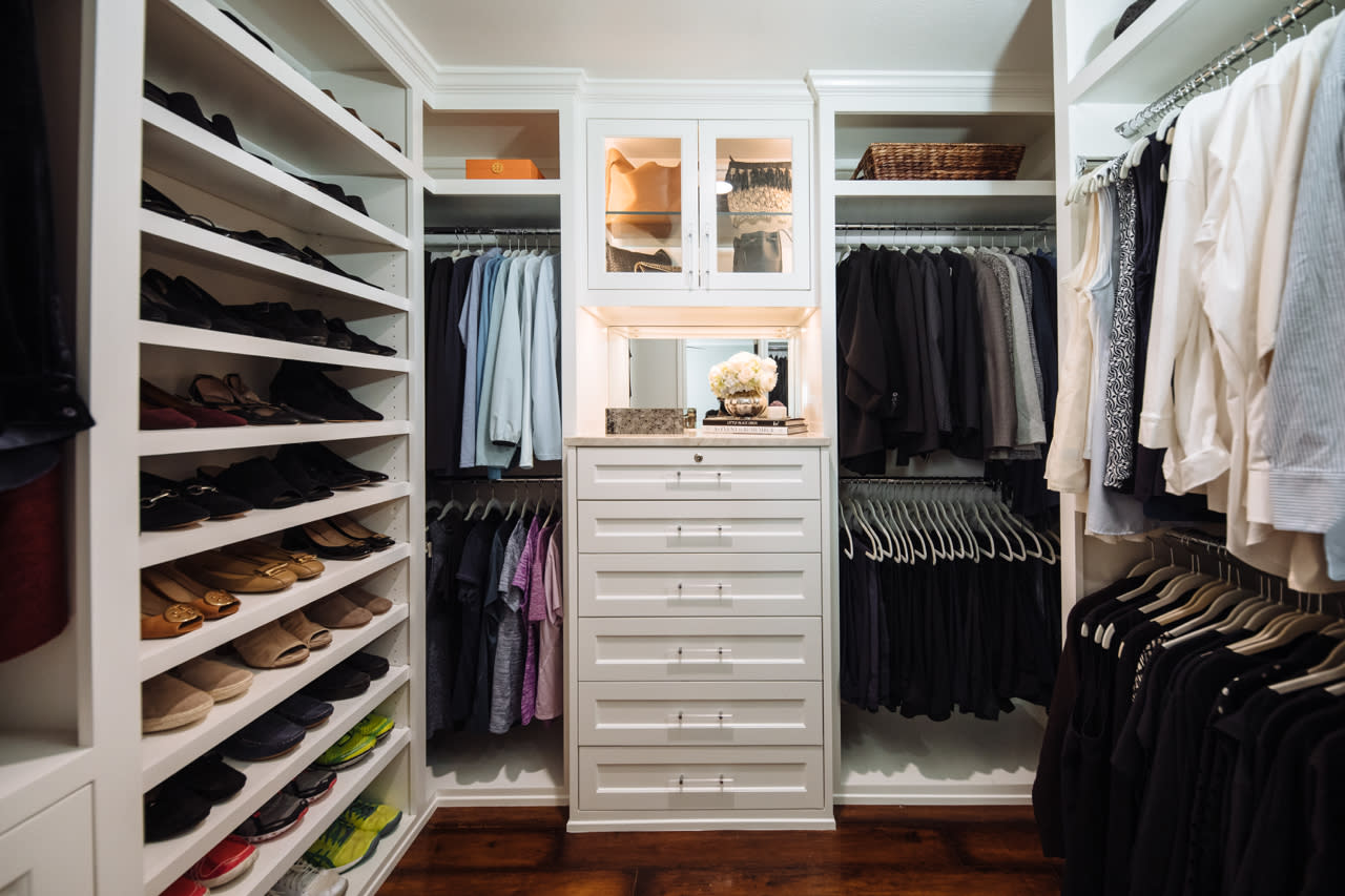 small traditional walk-in closet
