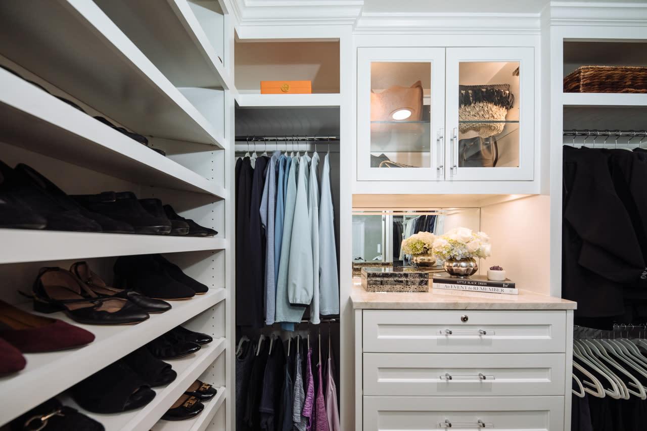 Custom designed closet with shoe storage