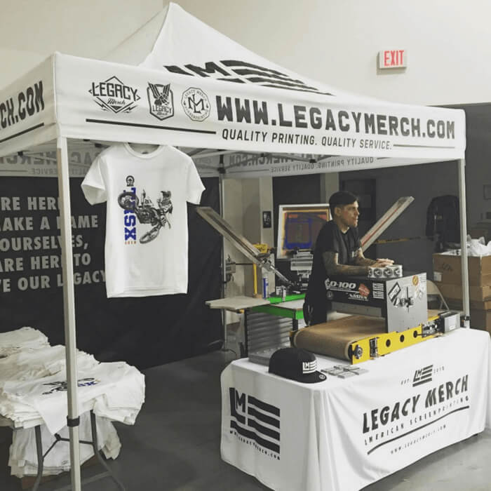 Live Screen Printers in the DFW   Onsite Screen Printing   Legacy Merch