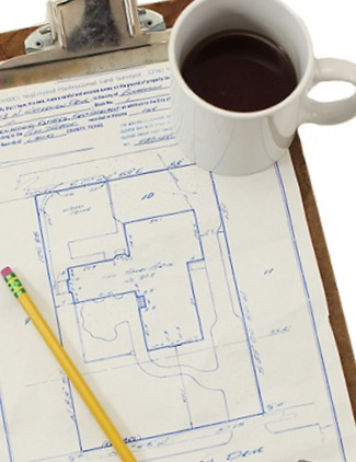 house survey, clipboard, coffee, pencil