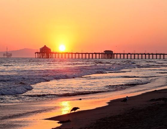 sunset over pier, photo by Rachel Logan