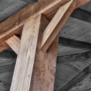 Giant 16 x 16 Cypress beams in Texas.