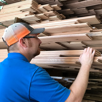 Hardwood flooring in stock at our sawmill in Texas.