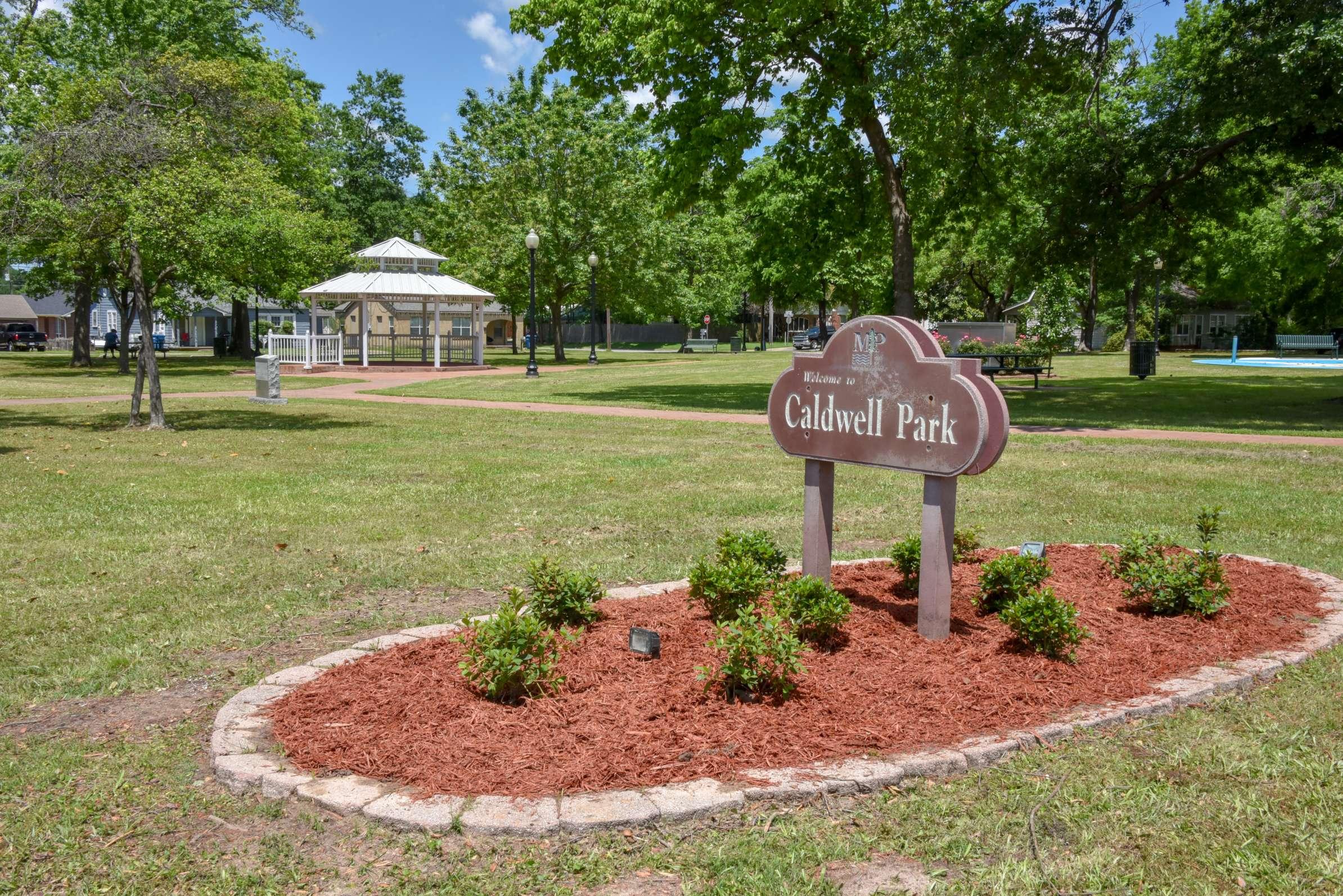 Caldwell Park sign Mount Pleasant texas