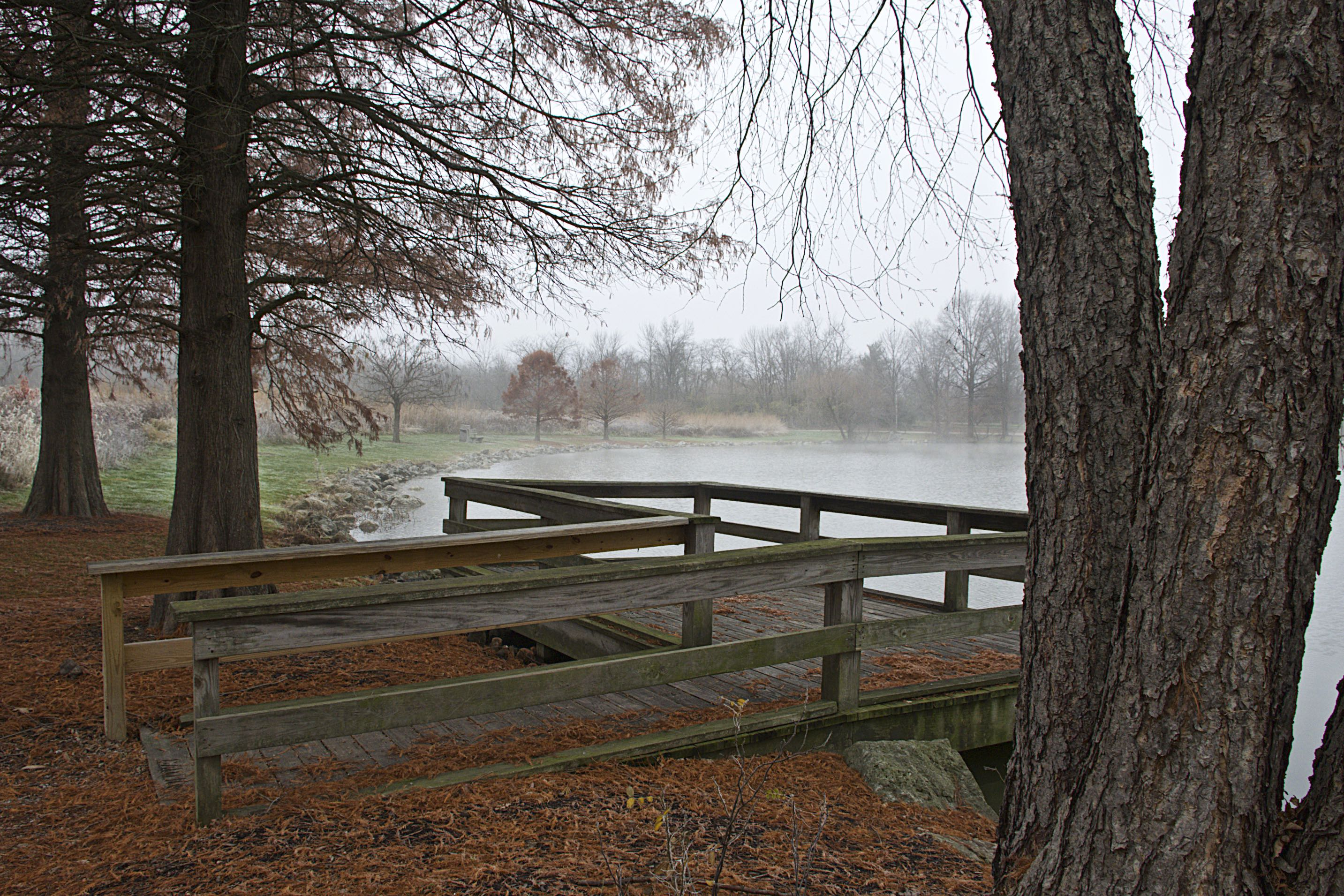The dock at the pond at Triple Creek is covered with leaves and pine needles during fall.