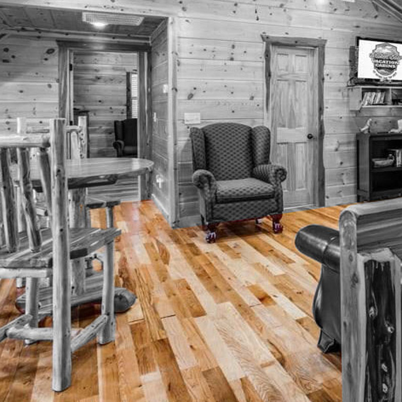 Solid Pecan wood flooring in a Hidden Hills cabin, in Hochatown, OK.