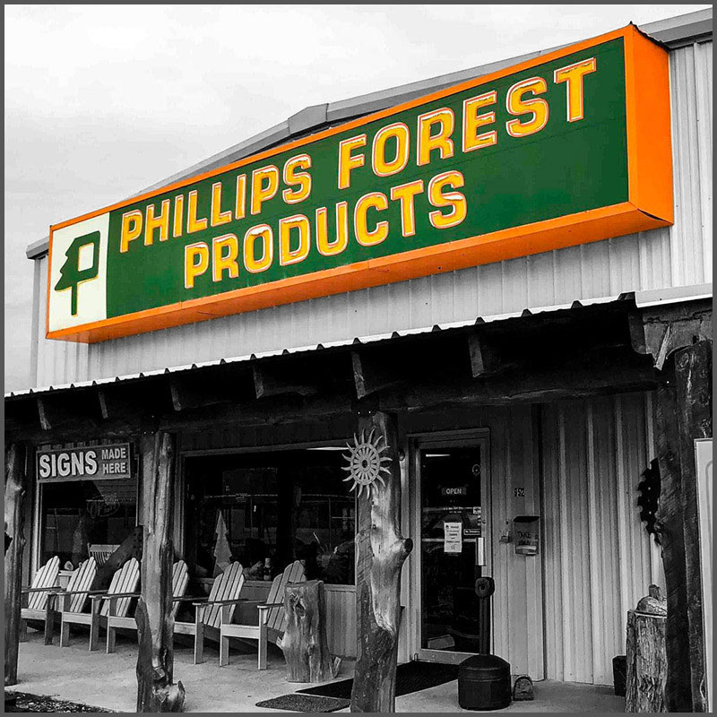 The Phillips Forest Products Forest Store.