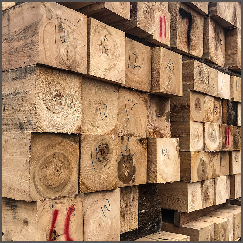 Stacks of Cypress beams at the Phillips sawmill in Texas.