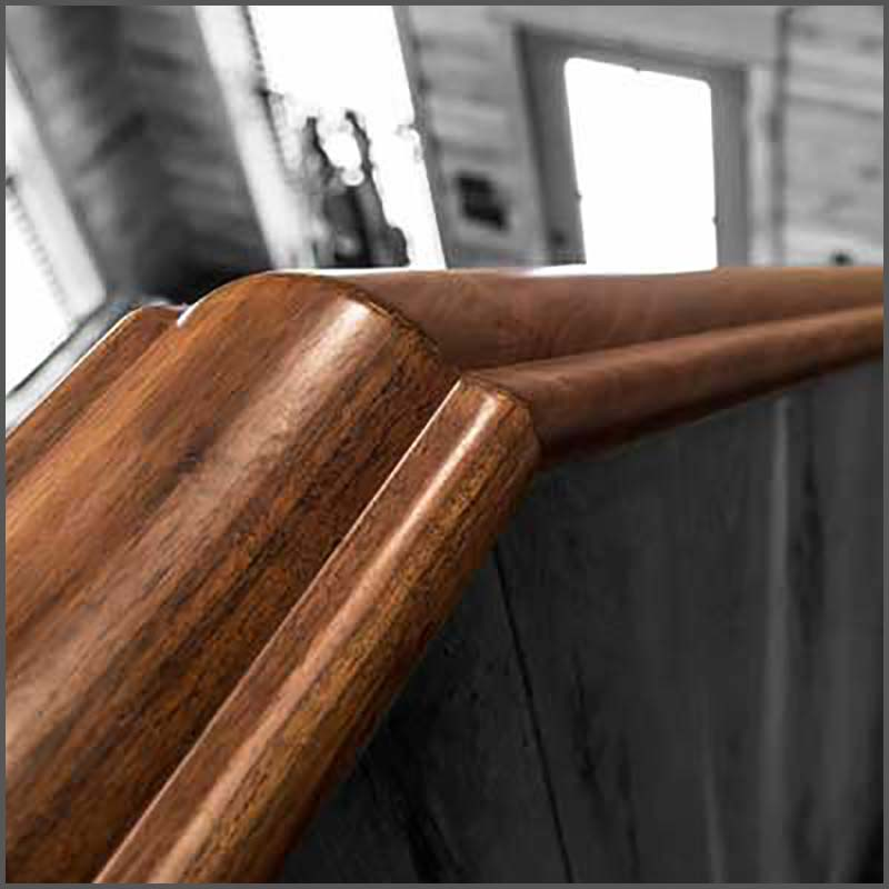 Custom made Walnut handrail molding.