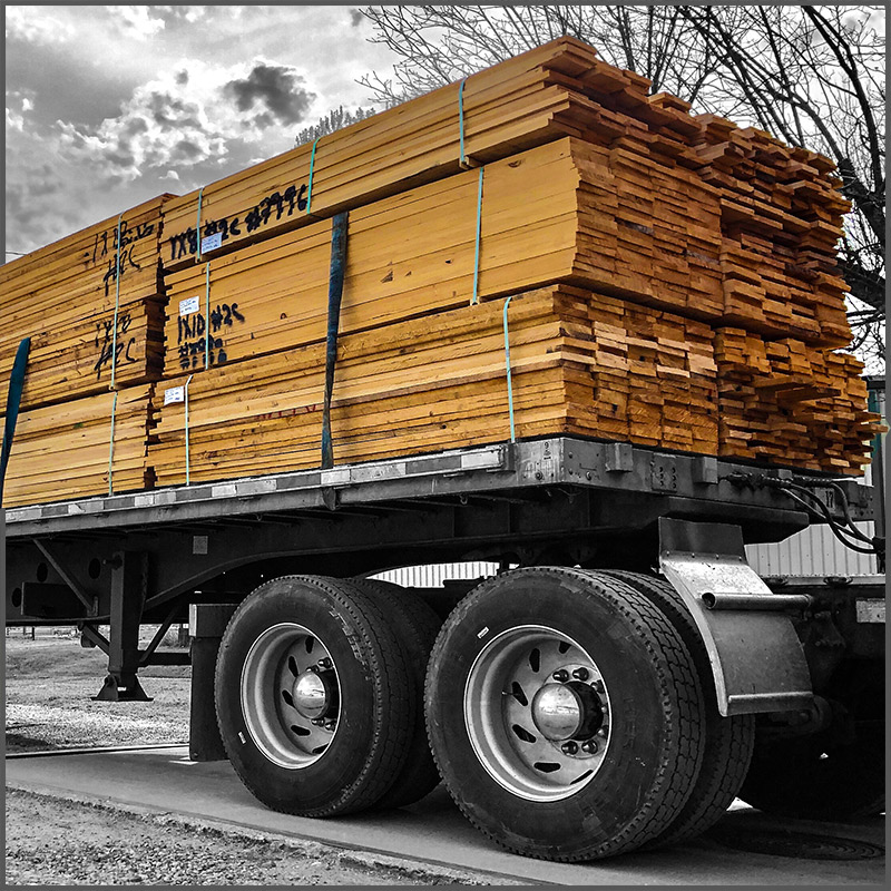 A truckload of cypress lumber.
