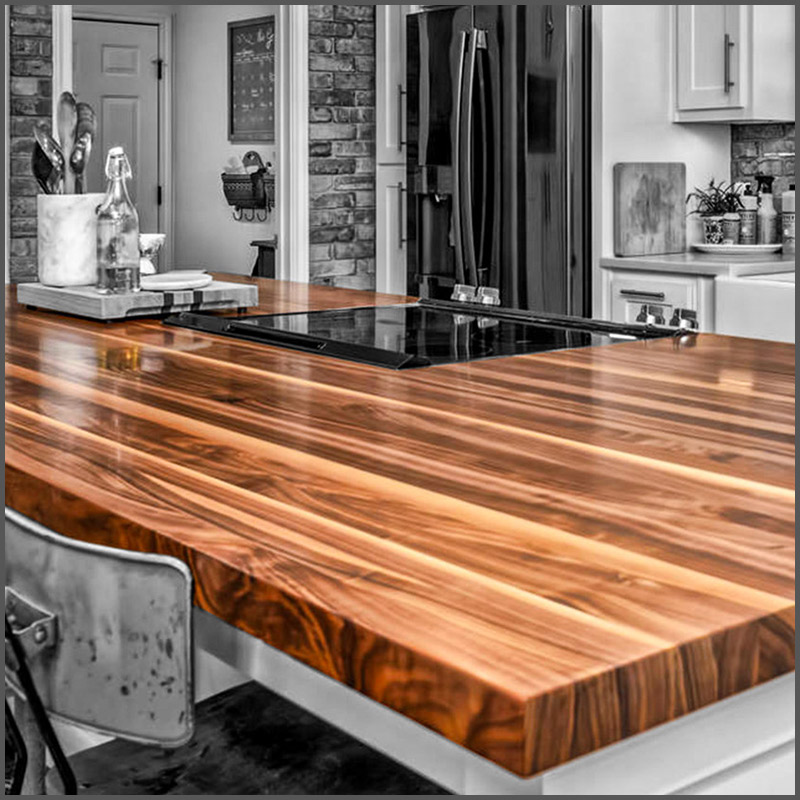 Walnut butcher block on a kitchen island.