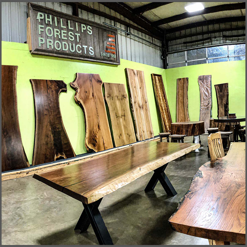 Live edge wood slabs in Texas.