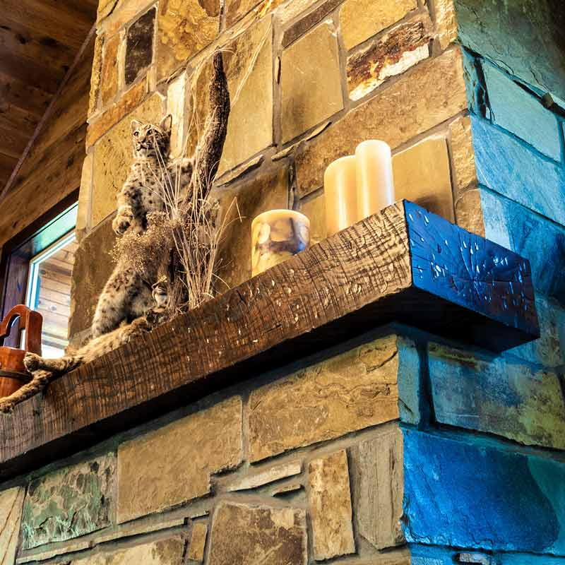 beam fireplace mantel