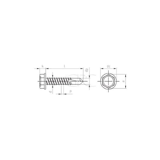 GPC Zelfborende 6kt schroef DIN7504 A2 6.3*13(500) 3578 img