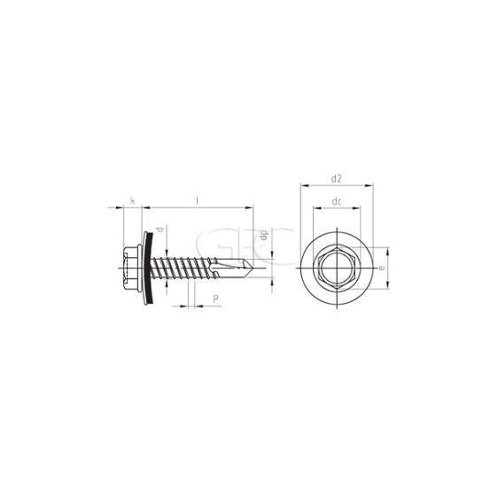 GPC Zelfborende 6kt schroef EPDM A2 5.5*50(200) 3601 img