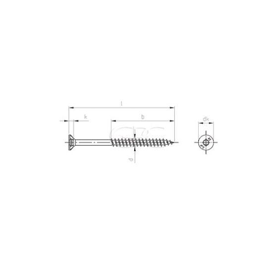 GPC Houtschroef Verzonken Kop A2 6.0*55/36(100) 3638 img