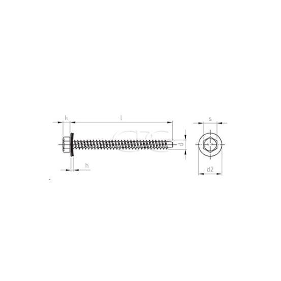 GPC Gevelschroef Zeskant EPDM 16mm A2 6.5*64 497 img