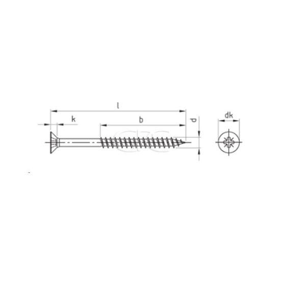 GPC Spaanplaatschroef Verzonk.KopA2 3.5*45/30(200) 3307 img