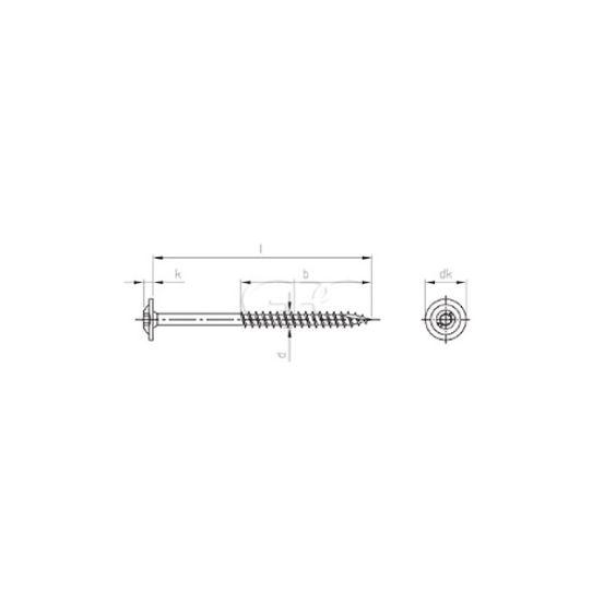 GPC Houtschroef Platte Kop A2 TX40 8.0*250/80 (50) 3628 img