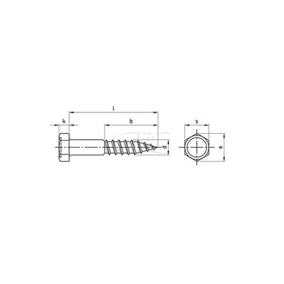 GPC Houtschroef Zeskant DIN 571 A2 12*160 (25) 3768 img