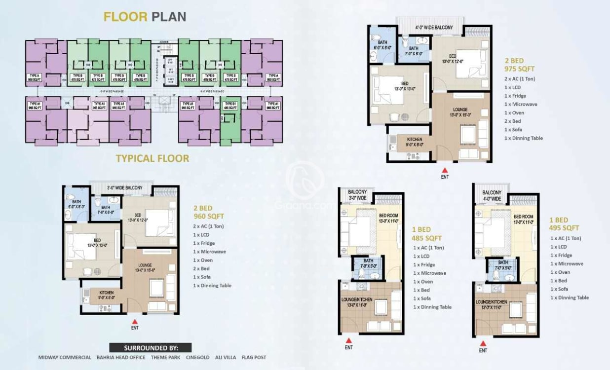 975 Sqft Apartment for Sale | Graana.com