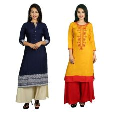 This V Brown Women's Cotton Straight Designer 3/4 Sleeve Kurti Combo Pack