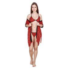Kismat Fashion Stylish Red 3 Pc Set Bra Panty With Robe