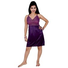 Kismat Fashion Purple Short Nighty With Lace Work