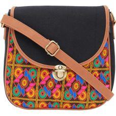 HAQEEBA Women Black Canvas Sling Bag