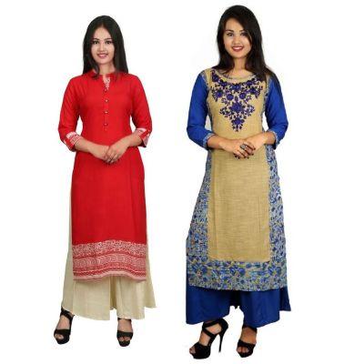 This V Brown Women's Cotton Straight Designer 3/4 Sleeve Kurti Combo Pack of 2
