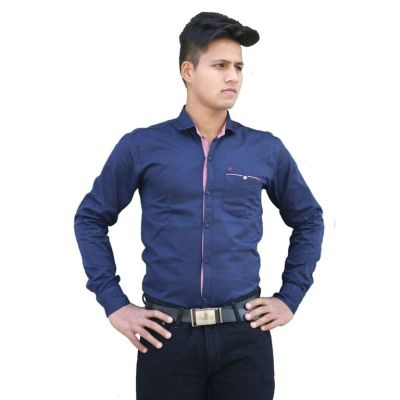 Clothonics Mens Shirt Plain Blue
