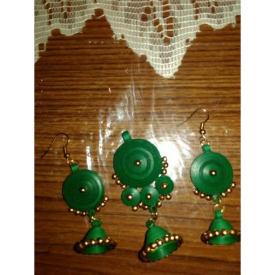 Green coloured Necklace with earrings with Jhumka