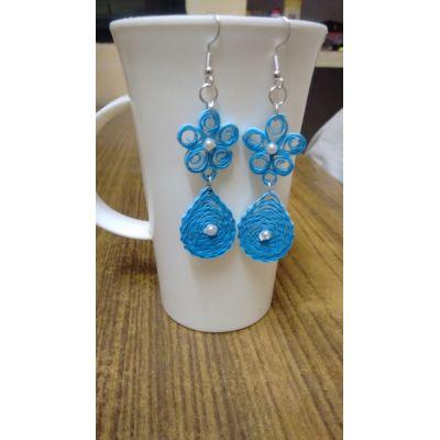Blue Coloured Flower Shaped Earrings