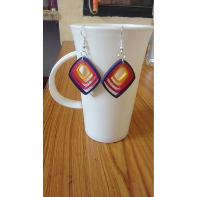 Multicoloured Paper Quilled Earrings