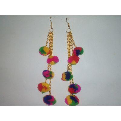 5 strand pom-pom earrings (Multicoloured)
