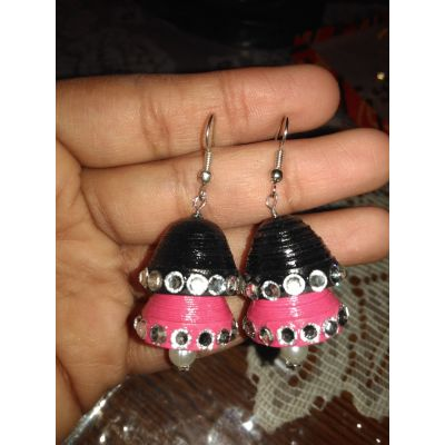 Double Jhumki (Black & Pink)