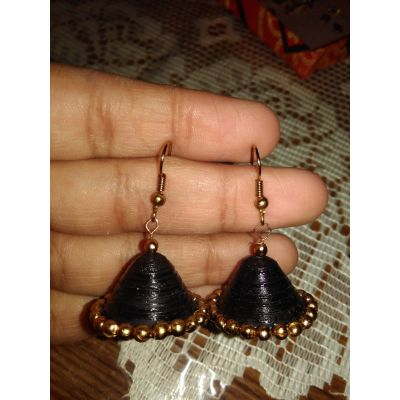 Black Jhumki with Golden Motis