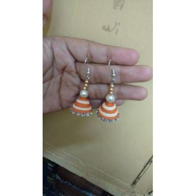 Jhumki Orange and White Coloured