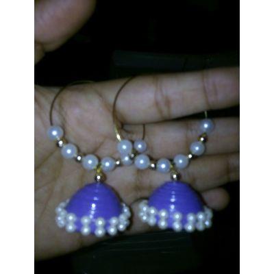 Jhumki with Bali (Light Purple)
