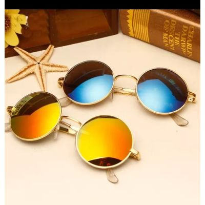 Combo Pack Of 2 Blue And Orange Color Round Frame Goggles Sunglasses