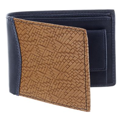 Dussledorf Buster Blue And Tan Men's Wallet With one Coin Pocket And 4 Card Slots (BUS-0708)