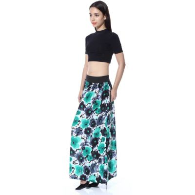 FabnFab Floral Print Women's A-line Black, Green Skirt