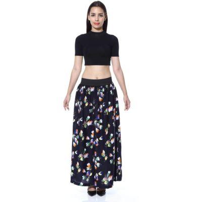 FabnFab Floral Print Women's A-line Blue Skirt