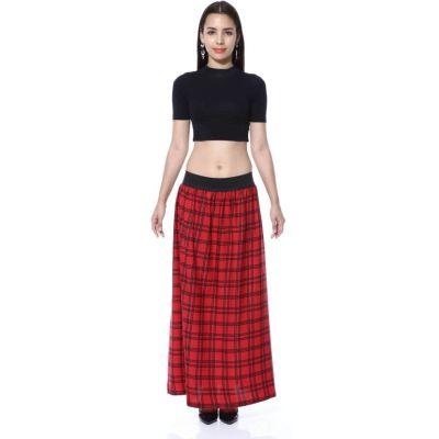 FabnFab Checkered Women's A-line Red, Black Skirt