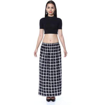 FabnFab Checkered Women's Pencil Black, White Skirt