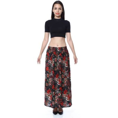 FabnFab Floral Print Women's Pencil Red, Black Skirt