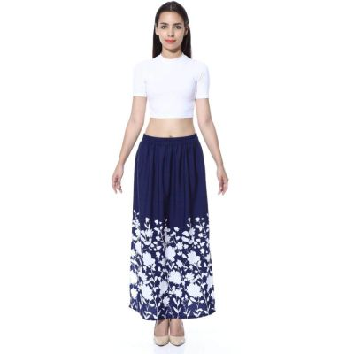 FabnFab Floral Print Women's Pencil Blue, White Skirt