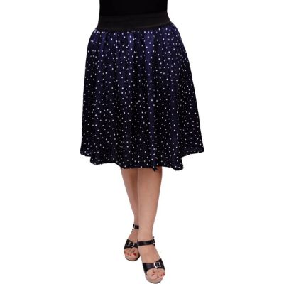 FabnFab Printed Women's Gathered Blue Skirt